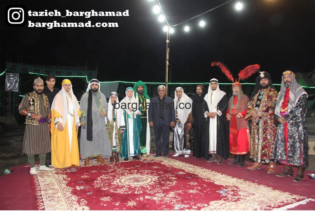تعزیه خوانان میدان تعزیه حسینیه حضرت سیدالشهداء روستای برغمد